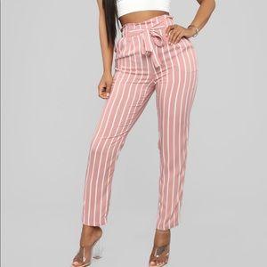 Pants - 💖 Striped Tie Waist Pink & White Pant
